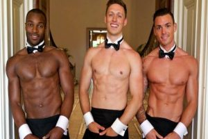 Three topless butlers in Belfast, Northern Ireland