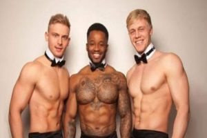 Three topless butlers in Dublin, Ireland